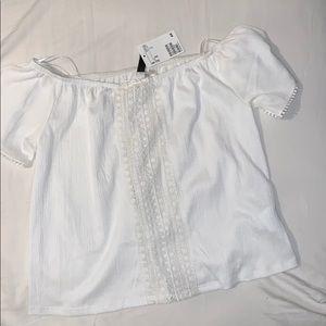 White Semi-Off-The-Shoulder Blouse (M)